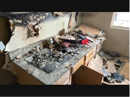 Fire extinguisher used to put out kitchen fire
